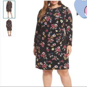 Eliza J Black Floral Long Sleeve Sheathe Dress